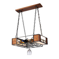 Lighting New York Moscato 4 Light Chandelier Wine Rack in Matte Black & Wood Grain NIK01