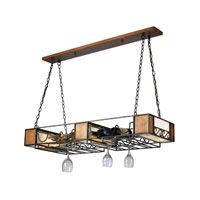 Lighting New York Moscato 6 Light Chandelier Wine Rack in Matte Black & Wood Grain NIK02