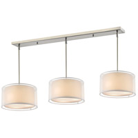 Z-Lite R-192-15-3W Sedona 9 Light 57 inch Brushed Nickel Island Light Ceiling Light in White and Super White Organza 15 192-15-3W - Open Box