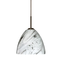Besa Lighting R-1BT-7572MG-BR Sasha Ii 1 Light Bronze Pendant Ceiling Light in Marble Grigio Glass Halogen 1BT-7572MG-BR - Open Box