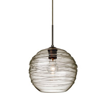 Besa Lighting Wave 1 Light Bronze Pendant Ceiling Light in Smoke Wave Glass 1JT-462702-BR - Open Box