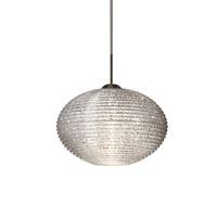 Besa Lighting Pape LED Bronze Pendant Ceiling Light in Glitter Ribbed Glass 1JT-4912GL-LED-BR - Open Box