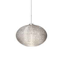 Besa Lighting Pape LED Satin Nickel Pendant Ceiling Light in Glitter Ribbed Glass 1JT-4912GL-LED-SN - Open Box