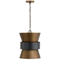Capital Lighting Elijah 1 Light 13 inch Patinaed Brass and Dark Zinc Pendant Ceiling Light 330416PZ - Open Box