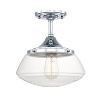 Capital Lighting Schoolhouse 1 Light 11 inch Chrome Semi-Flush Mount Ceiling Light in Clear 3533CH-134 - Open Box