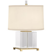 Robert Abbey Williamsburg Finnie 15 inch 60 watt Modern Brass with Clear Lead Crystal Accent Lamp Portable Light in Cloud Cream Silk, Modern Brass Accents 362 - Open Box