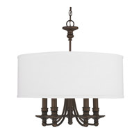 Capital Lighting Midtown 5 Light 25 inch Burnished Bronze Chandelier Ceiling Light in White Fabric Shade 3915BB-455 - Open Box