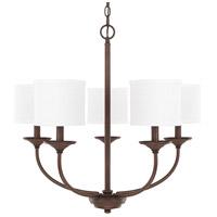 Capital Lighting R-3925BB-469 Loft 5 Light 27 inch Burnished Bronze Chandelier Ceiling Light in White Fabric Shade 3925BB-469 - Open Box