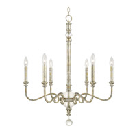 Capital Lighting Charleston 6 Light 26 inch Silver and Gold Leaf Chandelier Ceiling Light 413361SG - Open Box