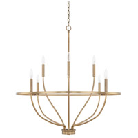 Capital Lighting Greyson 8 Light 34 inch Aged Brass Chandelier Ceiling Light, HomePlace 428581AD - Open Box