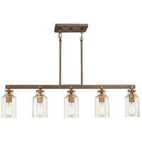 Minka-Lavery Morrow 5 Light 36 inch Harvard Court Bronze with Gold Island Light Ceiling Light 4556-588 - Open Box