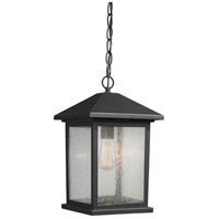 Z-Lite R-531CHM-ORB Portland 1 Light 8 inch Oil Rubbed Bronze Outdoor Chain Mount in Clear Seedy Glass 531CHM-ORB - Open Box