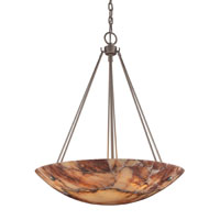 Lighting New York Marbled Stone 6 Light Pendant in Matte Nickel HUI01