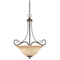 Designers Fountain R-98031-WM Stratton 3 Light 120 Warm Mahogany Pendant Ceiling Light in Amber Sandstone 98031-WM - Open Box
