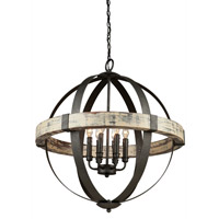 Artcraft Castello 6 Light 27 inch Distressed Wood and Black Chandelier Ceiling Light AC10016 - Open Box