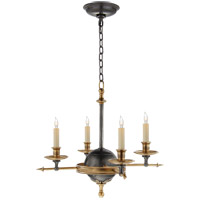 Visual Comfort E. F. Chapman Leaf And Arrow 4 Light 16 inch Bronze with Antique Brass Accents Chandelier Ceiling Light CHC1448BZ/AB - Open Box
