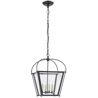 Visual Comfort E. F. Chapman Plantation 4 Light 14 inch Bronze Foyer Lantern Ceiling Light, E.F. Chapman, Small, Clear Glass CHC3438BZ-CG - Open Box