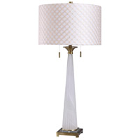 StyleCraft Home Collection R-L318398DS Sona 37 inch 120 watt Brushed Gold and White Table Lamp Portable Light L318398DS - Open Box
