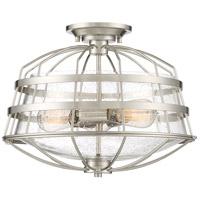 Quoizel R-MTE1716BN Maritime 3 Light 16 inch Brushed Nickel Semi-Flush Mount Ceiling Light MTE1716BN - Open Box
