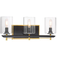 Metropolitan R-N7851-707 Sable Point 3 Light 20 inch Sand Black With Honey Gold Accents Bath Bar Wall Light N7851-707 - Open Box