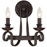 Quoizel Noble 2 Light 12 inch Rustic Black Wall Sconce Wall Light  NBE8702RK - Open Box