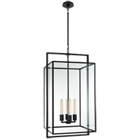 Visual Comfort Ian K. Fowler Halle 4 Light 18 inch Aged Iron Hanging Lantern Ceiling Light, Medium S5193AI-CG - Open Box