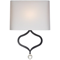 Visual Comfort Suzanne Kasler Heart 19-inch Sconce in Aged Iron, Natural Percale Shade SK2258AI-PL - Open Box