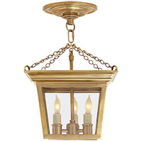 Visual Comfort E. F. Chapman Cornice 3 Light 10 inch Hand-Rubbed Antique Brass Semi-Flush Ceiling Light SL5870HAB - Open Box