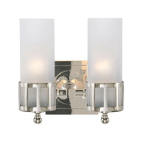 Visual Comfort Studio Openwork Double Sconce in Polished Nickel with Frosted Glass SS2012PN-FG - Open Box