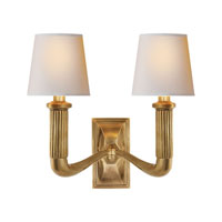 Visual Comfort Thomas OBrien Gallois Two Arm Sconce in Hand-Rubbed Antique Brass with Natural Paper Shades TOB2336HAB-NP - Open Box