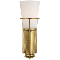 Visual Comfort Thomas OBrien Robinson 4 inch Hand-Rubbed Antique Brass Sconce Wall Light in White Glass, Thomas O''Brien, White Glass TOB2751HAB-WG - Open Box