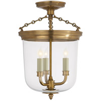 Visual Comfort Thomas OBrien Merchant 3 Light Semi-Flush in Hand-Rubbed Antique Brass TOB4212HAB - Open Box