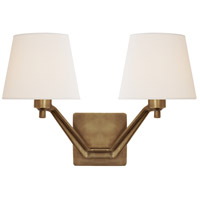 Visual Comfort Aerin Union Double Arm Sconce in Antique Brass with Linen shade ARN2005HAB-L - Open Box