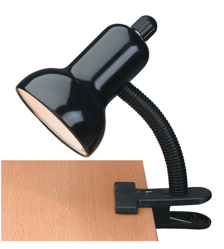 Lite Source LS-111BLK Clip-on 12 inch 60 watt Black Clamp-on Lamp Portable Light photo