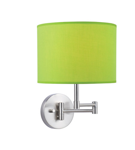 Lite Source Kasen 1 Light CFL Wall Lamp in Polished Steel with Light Green Fabric Shade LS-16515L/GRN photo