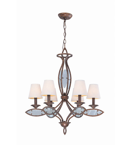 Lite Source LS-19136 Damaris 6 Light 28 inch Rusted Bronze and Clear Chandelier Ceiling Light photo