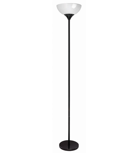 Lite Source Zett 1 Light CFL Torch Lamp in Black with White Acrylic Shade LS-8540BLK/WHT photo