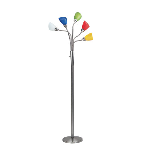 Lite source calypso 5 light floor lamp in polished steel with multi lite source calypso 5 light floor lamp in polished steel with multi crackled glass shade ls aloadofball Gallery