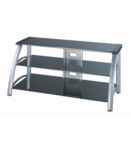 Lite Source Lsh 5607 Arch 50 Inch Silver Chrome And Black Glass Tv Stand
