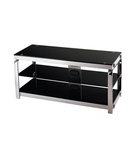 Lite Source Lsh 5614 Enzo 44 Inch Silver Chrome And Black Glass Tv Stand