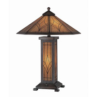 Lite Source Odessa 3 Light CFL Table Lamp in Dark Bronze with Glass Shade C41014