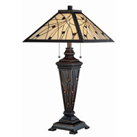 Lite Source Remus 2 Light CFL Table Lamp in Dark Bronze with Tiffany Shade C41117