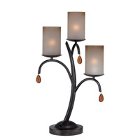 Lite Source Ainsley 3 Light Table Lamp in Dark Bronze with Glass Shade C41223