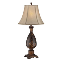 Lite Source Aldan 1 Light CFL Table Lamp in Antique Bronze and Faux Marble with Light Beige Shade C41293