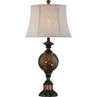 Lite Source Greighton 1 Light Table Lamp in Antique Bronze and Faux Marble with Linen Shade C41294