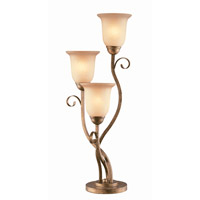 Lite Source Helen 3 Light Table Lamp in Aged Bronze with Glass Shade C4276