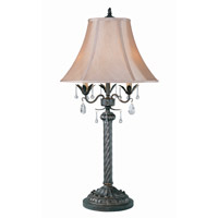 Lite Source Parker 3 Light Table Lamp with Bell Shade with Crystal C4352