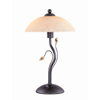 Lite Source Nevio 3 Light Table Lamp in Dark Bronze with Amber Glass Shade C4919