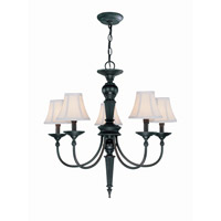 Lite Source Grace 5 Light Chandelier in Dark Bronze with Fabric Shade C71038