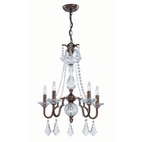 Lite Source Fulbright 5 Light Chandelier in Antique Gold with Crystal C71135